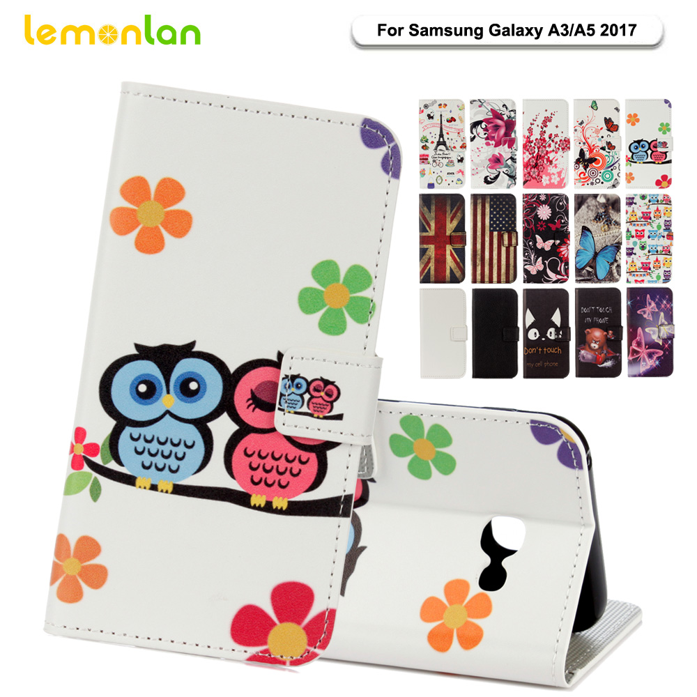 Lemonlan Fashion Owl Flowers Flip PU Leather Phone Case For Samsung Galaxy A3 A310 A320 A5 A520 A510 2017 Wallet Stand Cover