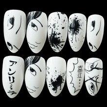 Wholesale Shiny Fake Nail Black White Cartoon False Nails Tip Acrylic Stiletto Japanese Style Lady Manicure Tools
