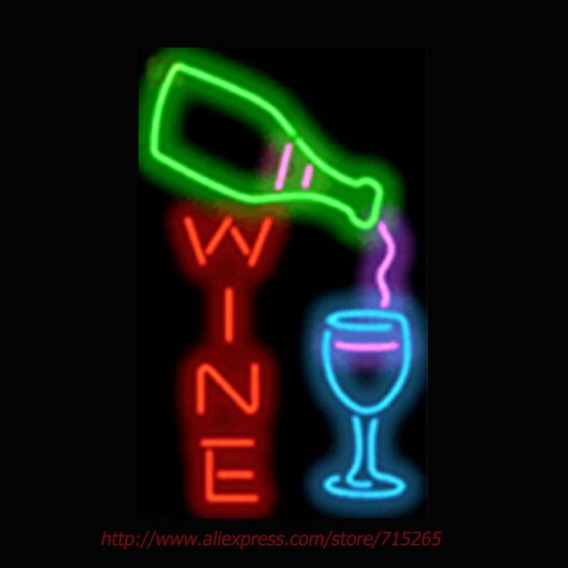 wine bottle and glass neon bulbs commercial custom outdoor neon