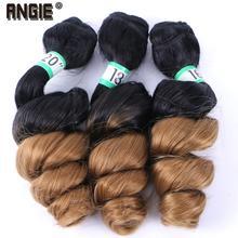 ANGIE Gevşek Dalga Kıvırcık Saç Demetleri Sentetik Saç Örgü 3 adet/grup 16 18 20 Inç Iki Ton Ombre Siyah/ 27 # Kadınlar için