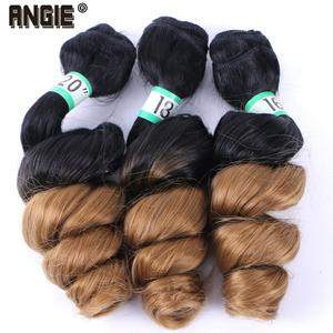 ANGIE Loose Wave Curly Hair Bundles Synthetic Hair Weave 3 Pieces/Lot 16 18 20 Inches Two Tone Ombre Black /27# For Women