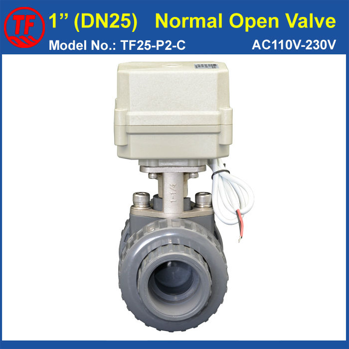 AC110V-230V 2 Wires BSP/NPT 1'' UPVC DN25 Normal Open Valve TF25-P2-C 10NM On/Off 15 Sec Metal Gear For Water Control Systems CE pvc 11 2 normal open valve tf40 p2 c ac110v 230v 2 wires 2 way dn40 bsp or npt thread 10nm on off 15 sec metal gear ce ip67