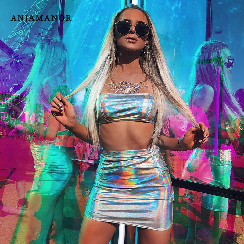 ANJAMANOR Glitter Holographic Sexy Two Piece Set Summer 2019 Woman Club Outfits Crop Top And Skirt Bodycon Short Dress D71-I02