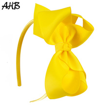 AHB 4 Inch Hair Bows Solid Band for Baby Girls Candy Color Bowknot Satin Hoop Headbands Childrens Headwear