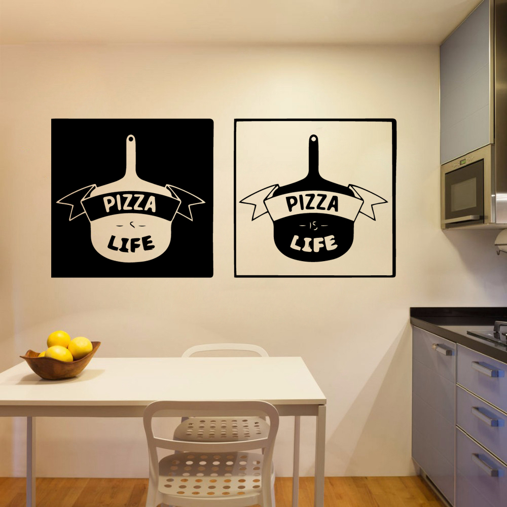 Fashion pizza Removable Wall Sticker For Kitchen Room Decoration Accessories Stickers Vinyl Murals Pizza Store Wall Decals in Wall Stickers from Home Garden
