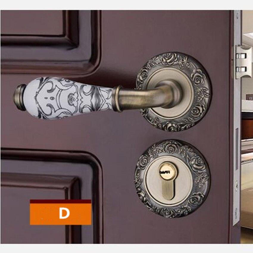 Модный механический замок для межкомнатной двери с Золотой резной розой, бронзовый, слоновой кости, белый, для спальни, кухни, из цельного дерева, для двери, керамический замок с ручкой - Цвет: D locks