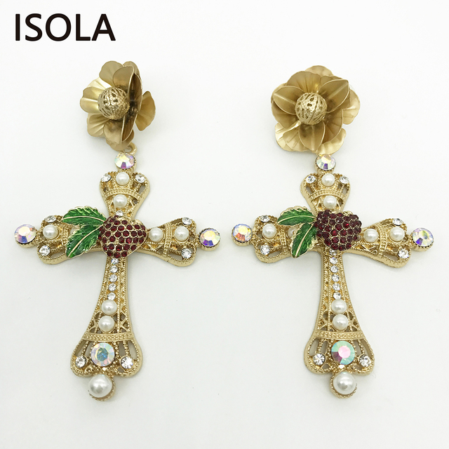 ISOLA Elegant Cross Baroque Earrings Hanging Engraved Flowers Embellished  With Simulated Pearl And Rhinestone Dangle Earrings 07d7305853b1