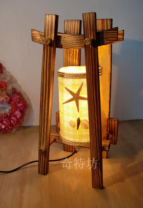 Free Shipping Wooden logs bedroom bedside lamp creative writing light wooden garden ornaments home decorative lamp minimalist ni