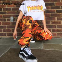 Pantalon Femme Loose Sexy Pants Women Camouflage Punk Trousers Pink Camo Orange Purple Pink Sweatpants Hiphop
