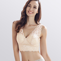 None Closure Bras Women Lace Sexy Bra Seamless Padded Full Cup Tank 100 Natural SILK Lingerie