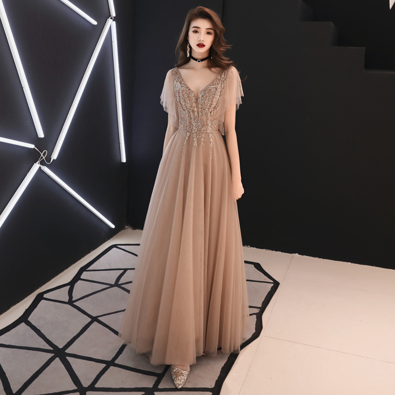 Elegant Tulle Appliques Beading Long Celebrity Dresses 2019 New Sexy V neck Open Back Red Carpet Dress Gown