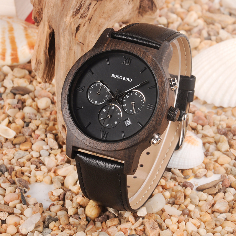 BOBO BIRD Luxury brand wooden Watches men Quartz wrist watch Stopwatch in wood box erkek kol saati bobo bird wh05 brand design classic ebony wooden mens watch full wood strap quartz watches lightweight gift for men in wood box