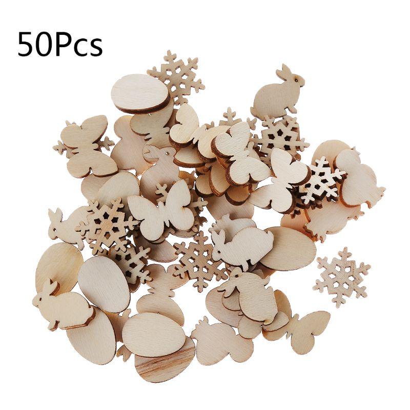 50pcs Laser Cut Wood Easter Egg And Rabbit Embellishment Wooden Shape Craft Wedding Decor