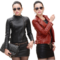 2015 Women Leather Jacket Autumn Winter Female Fashion High Quality Faux Leather Jacket Ladies PU Leather
