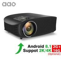 Аао YG600 HD проектор дополнительно Android 8,1 Wi Fi Поддержка 2 к 4 3600 люмен домашнего кинотеатра HDMI VGA 3D проектор для видеоигр
