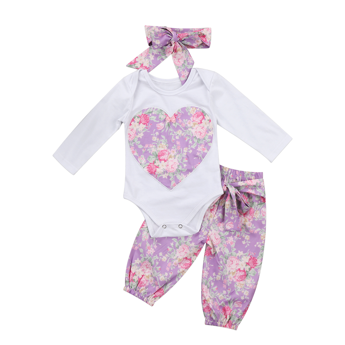 Baby Girl Long Sleeve T-shirt Tops Floral Cute Pants Casual Headbands 3pcs Clothing Set Baby Girls Autumn Clothes Sets Outfits 3 pcs set girls baby clothing sets sleeveless shirt tops floral pants headband vogue clothes 2 6 year hot selling