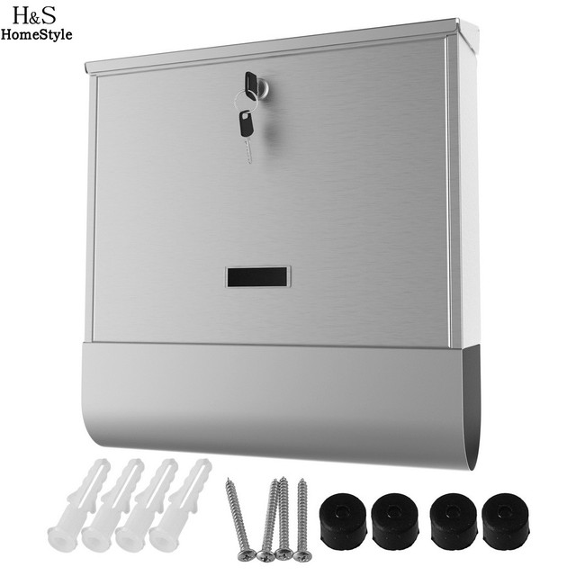 Homdox Stainless Steel Mailbox Wall Mount Europe Home Office Mail Box Letterbox Storage Bo