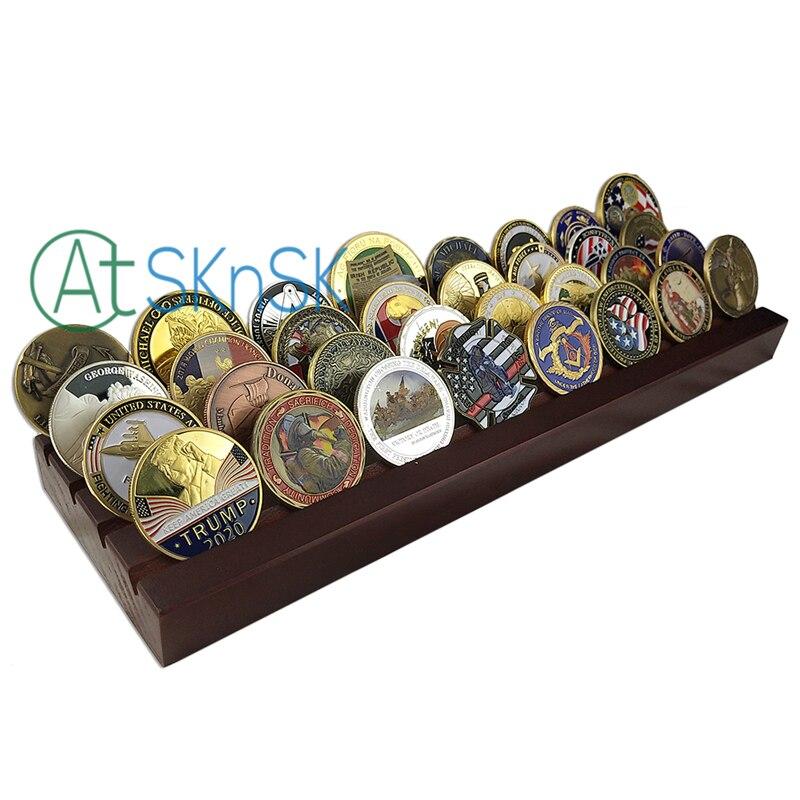 1 pz di Fabbrica su misura più nuovo sfida monete titolare sounvnir noce massello di legno display stand rack di 4 righe per le monete da collezione