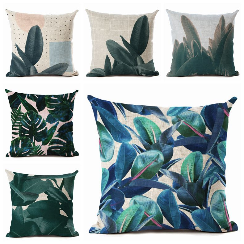 Green Plant Leaf Pillow Case Cushion Covers Sofa Car Throw Modern Home Decor