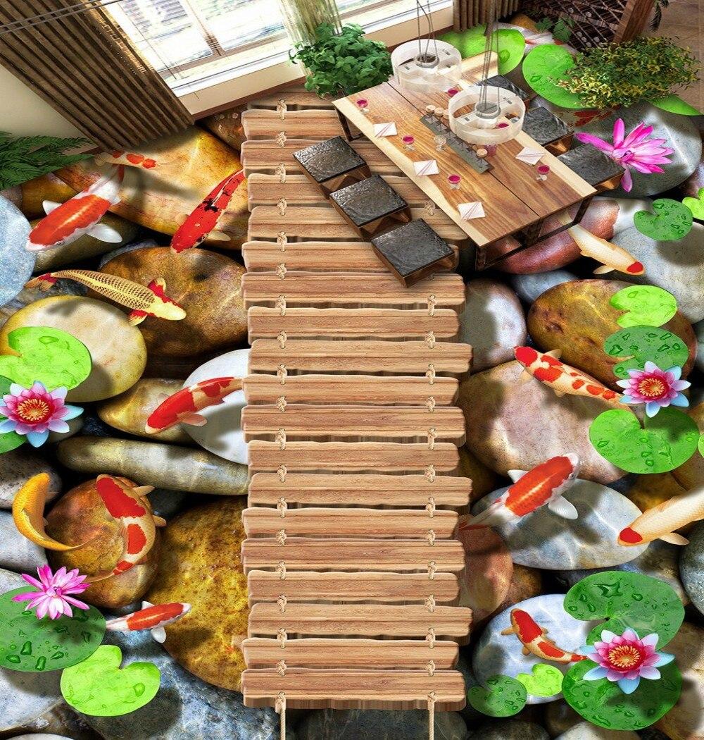 ФОТО Free Shipping Wooden bridge lotus carp stone 3D floor waterproof wear non-silp living room bedroom flooring wallpaper mural