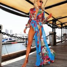 women sheer maxi dress elegant Beach Pool Wrap Split Long evening party dress Chiffon V-neck full sleeve print floral Sexy dress