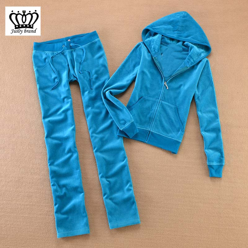Brand Velvet 2019 Women'S Fabric Tracksuits Velour Suit Women Track Suit Hoodies And Pants Red XS-XL