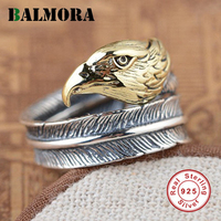 BALMORA 100 Real 925 Sterling Silver Bird Open Rings For Women Men Gift High Quality Silver