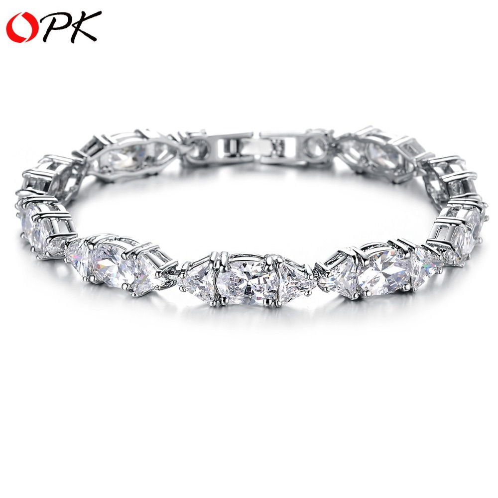 OPK JEWELRY Luxury White Gold Color Wedding Bracelets & Bangle High Quality AAA Zircon Bride Crystal Bracelet for women 927