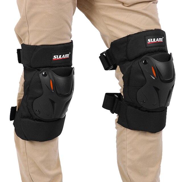 1pair Thickened Knee Pad Motorcycle Cycling Knee Protector Pad Winter Skiing Sports Knee Guard Adjustable Belt Kneepad