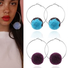 Fashion Hyperbole Big Drop Earring Fur Pom Pom Ball Pendant Dangle Earring For Women Punk Bohemia Jewelry Accessories