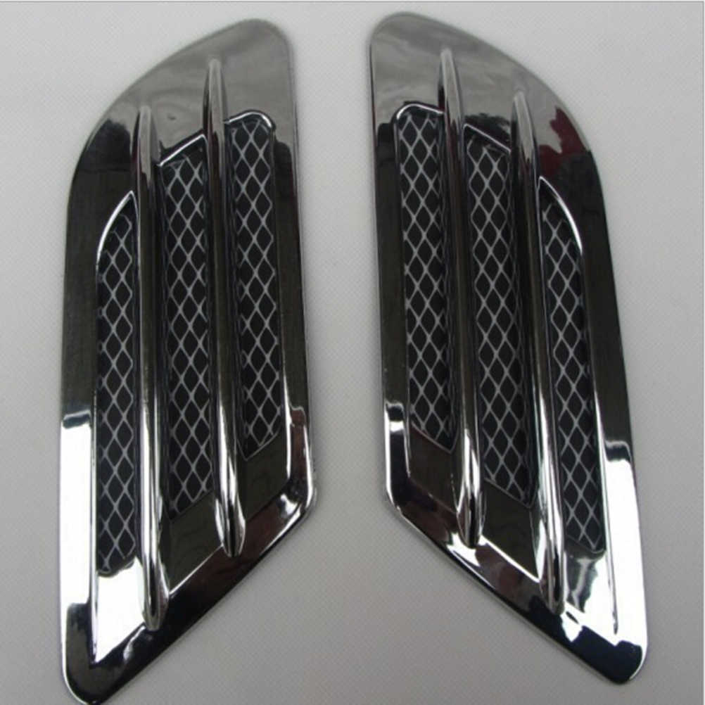 2PCS Carbon Fiber Plastic Car Hood Air Flow Fender Side Vent Decoration Sticker