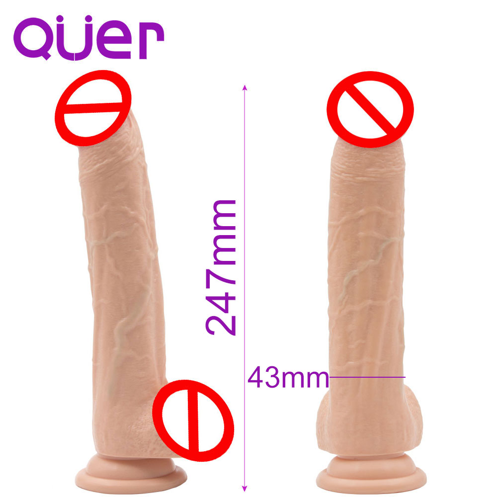 Tamanho 247mm * 43mm realista realista longa e grande Strapon dildo falo em otários pau pênis falso falos brinquedos do sexo para a mulher