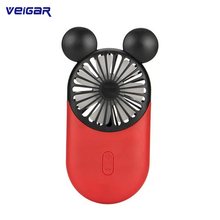 Portable Mini USB Fan Air Conditioner Cooler Cooling Fans Rechargeable With LED Night Light For Summer Cooling Mickey Fans
