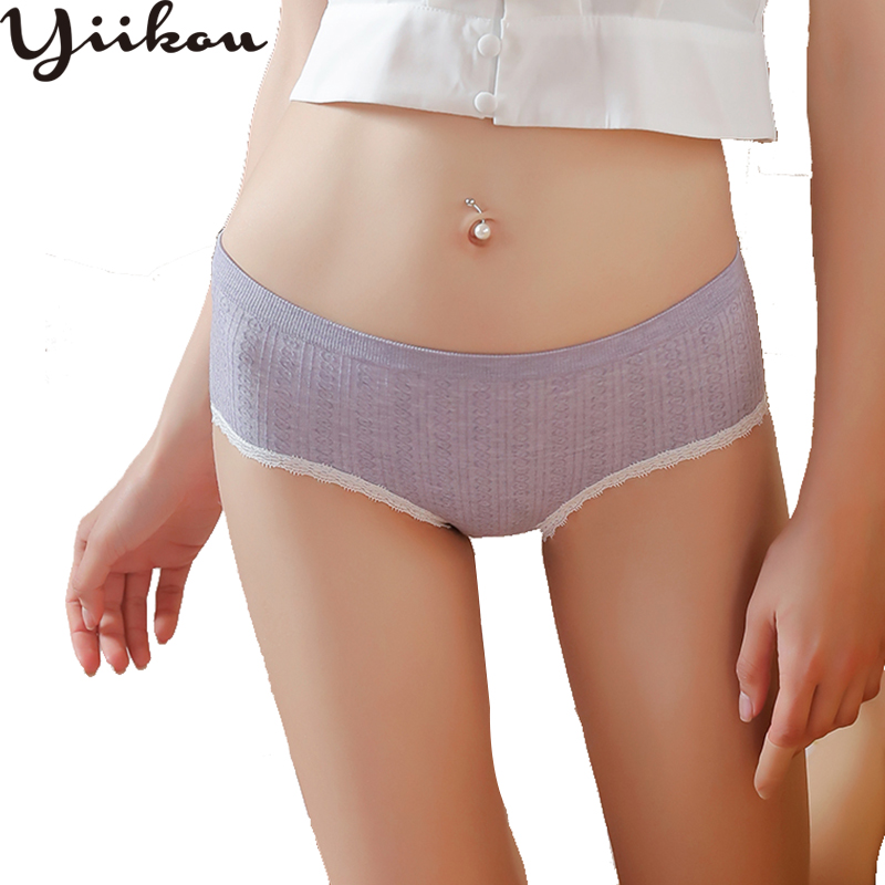 Female Japanese pure color cotton briefs womens fashion waist pants female students sweet girl lace