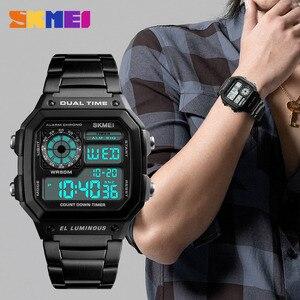 Image 3 - SKMEI Top luxe Sport Horloge Mannen Lichtgevende 5Bar Waterdichte Horloges Roestvrij Stalen Band Digitale Horloge Relogio Masculino 1335