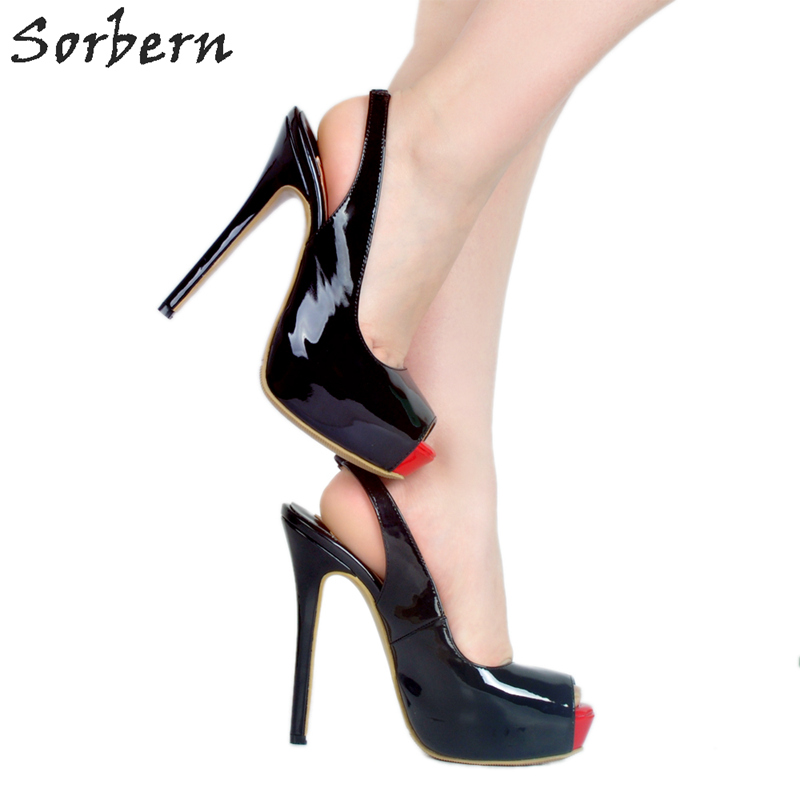 Sorbern Black Shiny Women Slingback Women Pumps High Heels Peep Toe Ladies Shoes Stilettos Girls Pumps Heels Size 10 Party Shoe odetina 2018 fashion women super high heels platform pumps stilettos peep toe extreme high heels 16cm party shoes big size 31 48