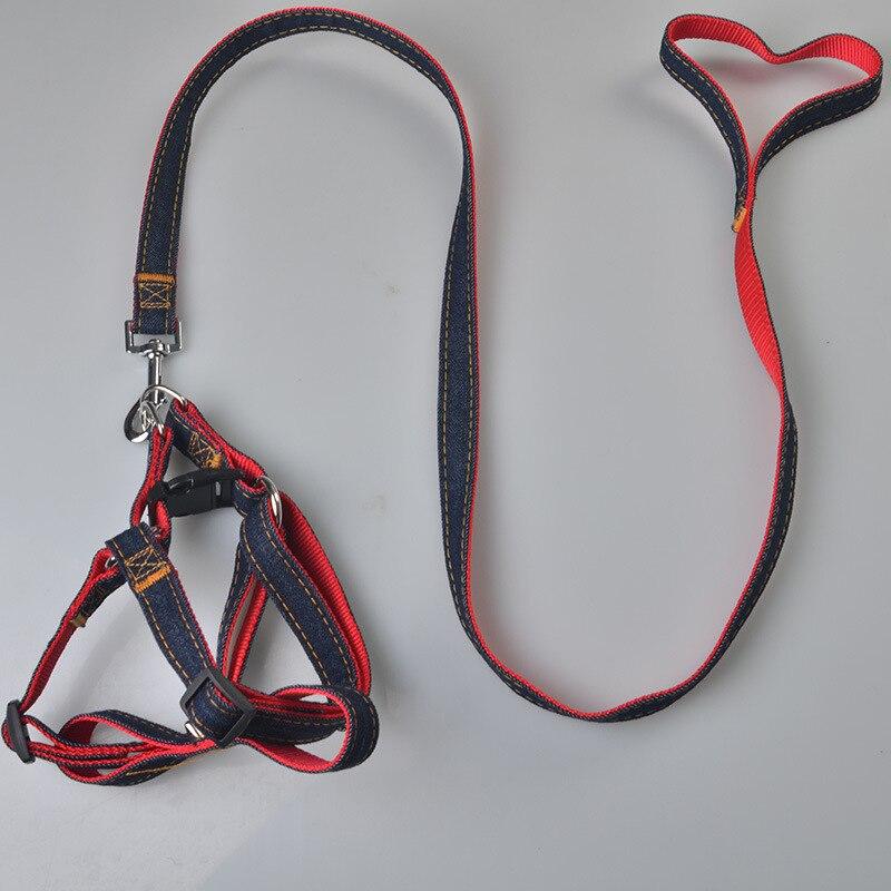 G09 New Arrival Fashion Pet dog Denim Leash Harness Set Adjustable Dog Jean Collar Chain Cat rope belt Walking lead