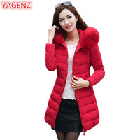 YAGENZ Plus size Jackets Winter Womens Clothing Coats Hooded Ladies Winter Jackets Large Size Long Section Women Cotton Tops 397