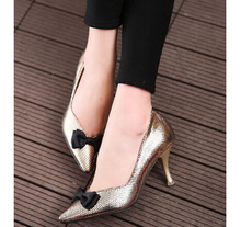 4pairs/lot wholesales 3 Colors Size 35-39 Summer Sexy Thin Heel Dress Shoes Korean Snakeskin PU Fashion Lady Shoes ML2193