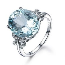 Natural Aqua Blue Rhinestone  Rings Butterfly Pattern Zircon For Women Fine Jewelry Party Decor Accessories
