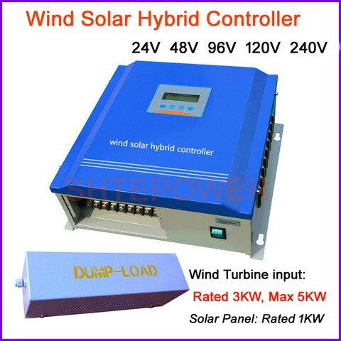 controlador de carga hibrido solar do vento de 3000w pwm 3kw 24v 48v 96v 120