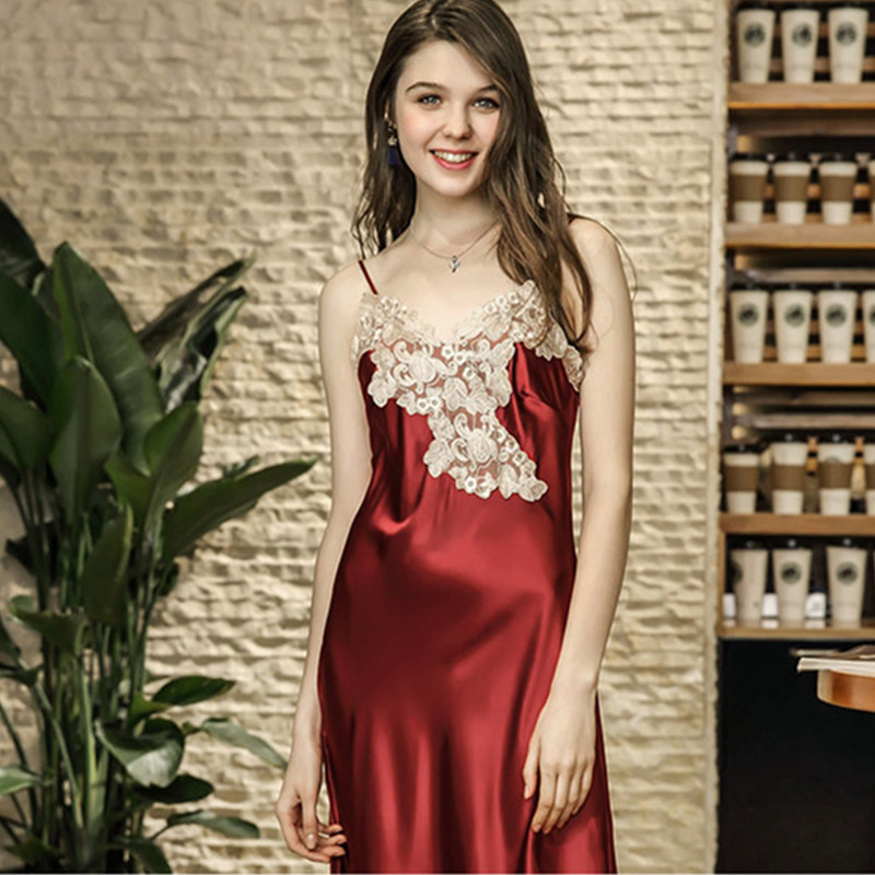 650b9a43b Rendas Sleepdress Ankle-alta Mulheres Nightwear Nightgowns V-neck Alcinhas  Camisola Longa Sleepwears Para O Sexo Feminino