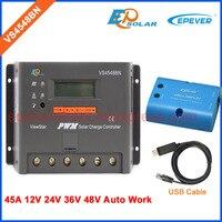 48ボルト太陽光発電パネルコントローラ45amp 45a VS4548BN pwm epsolarバッテリー充電に建てlcdディスプレイwifiボックスとusbケーブル