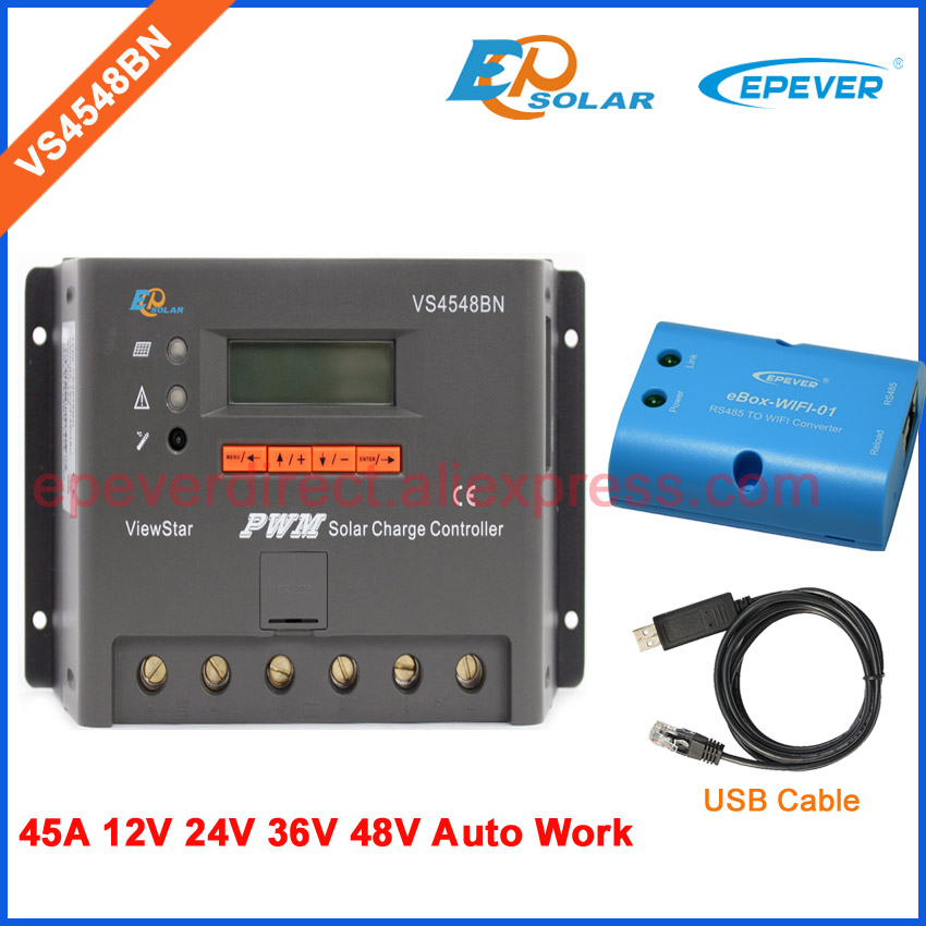 48v solar pv panel controller 45amp 45A VS4548BN PWM EPSolar battery charge  built in lcd display wifi BOX and USB cable solar kit solar panel boat 60w 12v solar panel battery charger solar charging controller 12 24v 10a pv cable z bracket camping