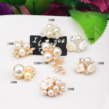 New Arrival Metal Rhinestone Pearl Embellishment Used On Headband Flat Back 10PCS/Lot Silver Or Gold Color KD571