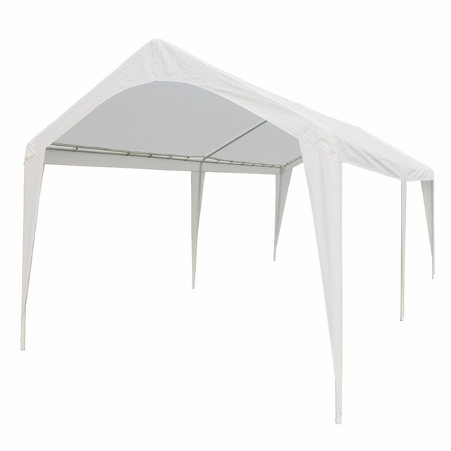 abba patio 10 x 20 feet outdoor carport canopy with 6 steel legs white - Abba Patio