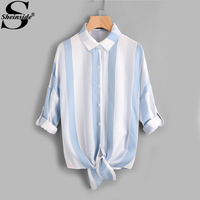 Sheinside Roll Tab Sleeve Knot Front Mixed Striped Blouse Blue Lapel Collar Long Sleeve Cotton Blouse