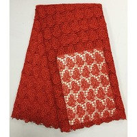 Hot Red 2017 High Quality Nigerian Wedding African Lace Fabrics Most Popular Guipure Cord Lace Fabric