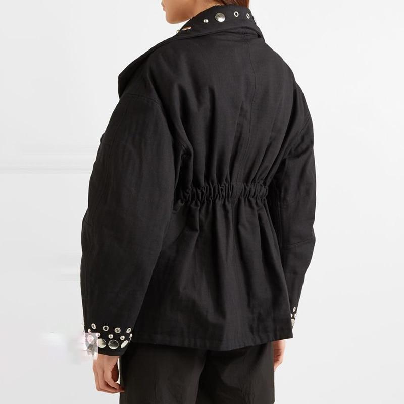 TWOTWINSTYLE Rivet Jacket Tops Female Eyelet V Neck Lantern Sleeve Tunic Women's Coat Oversize Fashion 2019  Autumn Streetwear-in Jackets from Women's Clothing    2