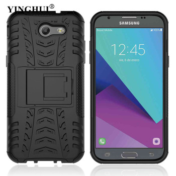 YINGHUI J3 2017 Hybrid Armor Case With Kickstand Holder Slim Hard PC Silicone Shockproof Cover For Samsung Galaxy J3 Emerge 2017